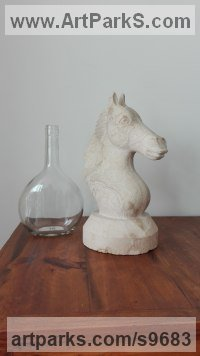 Sedimentary stone Tabletop Desktop Small Indoor Statuettes Figurines sculpture by STEPHEN TOPFER titled: 'Caballo (Contemporary Carved Horse Head statuette)'
