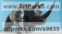 Stone Diorite Stylized Animals sculpture by STEPHEN TOPFER titled: 'Rhino (Little Carved Stone Rhinoserus sculptures)'