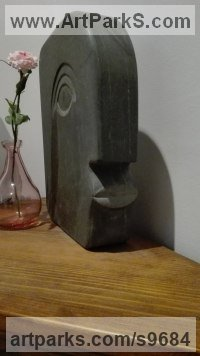 Slate Stone Primitive or Naive style Sculpture or Statuary sculpture by STEPHEN TOPFER titled: 'Ulithi (Contemporary Primitive Man`s Head sculpture)'
