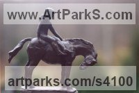 Bronze Horse and Rider / Jockey Sculpture / Equestrian sculpture by KELSEY titled: 'File #80 Lady-Gittings'