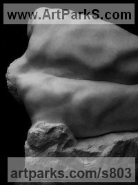Carrara marble Human Form: Abstract sculpture by Steve Lincoln Hubber titled: 'abstract ed Male Torso-River God (marble nude Man statue)'