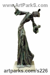 Ballet Dancer Ballerina Classical Dance Sculpture Statues statuettes Figurines by sculptor artist Sue Riley titled: 'Anna (Contemporary abstract female Girl Woman Ballet Dancer sculpture)' in Bronze