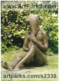 Bronze Resin Females Women Girls Ladies sculpture statuettes figurines sculpture by sculptor Sukey Erland titled: 'Girl with Long Hair (nude female/Woman/Seated garden statue)'