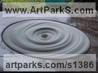 Marble and granite Abstract Contemporary or Modern Outdoor Outside Exterior Garden / Yard Sculptures statues statuary sculpture by Susan Abraham titled: 'The Journey (stone Pool Circular Waves statues)'