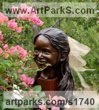 Bronze Sculpture of Children by Susan Gulla-O`Leary titled: 'Portrait Bust, 4 Year Old (bronze Portrait life size Child Commissions)'