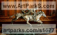 Bronze Horse and Rider / Jockey Sculpture / Equestrian sculpture by sculptor Susan Gulla-O`Leary titled: 'Race to Win! (Little Bronze Race Horses and Jockty statues/statuettes)'