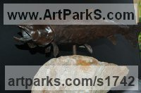 Sea Fish Sculpture by sculptor artist Susan Gulla-O`Leary titled: 'Speckled Trout (Small Bronze Swimming/Feeding Fish statues/statuettes)' in Bronze