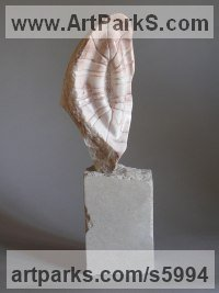 Marble Indoor Inside Interior Abstract Contemporary Modern Sculpture / statue / statuette / figurine sculpture by sculptor Tabitha Sheehn Davis titled: 'Medusa (Carved marble abstract shell like sculptures/statues/statuette)'