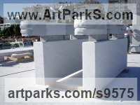 Afyon marble Abstract Contemporary Modern Civic Urban sculpture statuary sculpture by sculptor Tamás Baráz titled: 'Parallels of Mersin (Horizontal abstract marble statue)'