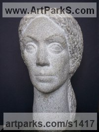 Marble Females Women Girls Ladies sculpture statuettes figurines sculpture by sculptor Tania Ivanova Tzanova titled: 'A Muse (Carved stone female Portrait head/Bust statue/carving sculpture)'