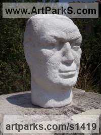 Marble Male Men Youths Masculine sculpturettes figurines sculpture by sculptor Tania Ivanova Tzanova titled: 'A Sculptor (Carved stone Portrait Head Bust/statue/carving/sculpture)'