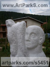Marble Garden Or Yard / Outside and Outdoor sculpture by sculptor Tania Ivanova Tzanova titled: 'Boy and Falcon (Carved marble abstract Naive Youth and Bird of Prey)'