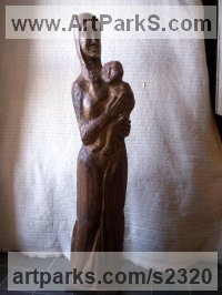 Parent - Child Sculpture by sculptor artist Tania Ivanova Tzanova titled: 'Mother and Child (carved Wood Half life size Parent and baby statue/ca)' in Wood