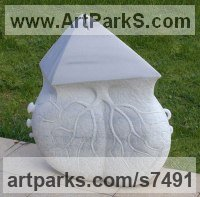 Marble Abstract Contemporary or Modern Outdoor Outside Exterior Garden / Yard Sculptures Statues statuary sculpture by Tanya Preminger titled: 'Destiny (Carved marble Organic abstract Art statue sculpture carving)'
