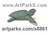 Cold Cast Bronze Reptiles Sculptures and Amphibian sculpture by Tanya Russell titled: 'Baby Turtles (Little Indoor Tabletop statuette statue)'