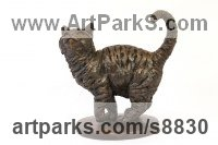 Cold Cast Bronze Pet and Animal Portrait Custom or Bespoke or Commission Commemorative or Memoriaql sculpture statue sculpture by Tanya Russell titled: 'Cat (Small bronze Cheerful statue bronze sculpture)'