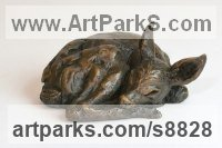 Foundry Bronze Deer sculpture by Tanya Russell titled: 'Fawn Resting (Little Small Baby Deer Sleeping statuette)'