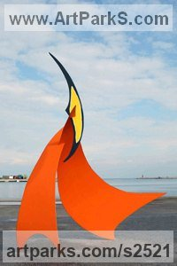 Steel Flamboyant Colourful Exuberant Exotic Gaudy Gorgeous Dedcorative Vivid Brightly Coloured Spectacular sculpture by Teo San Jose titled: 'Fire sailer 28 (Contemporary Modern Colourful stainless Steel statues)'