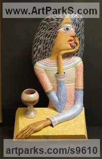 Wood, pigments, oil Stylized People sculpture by Teodor Dukov titled: 'A Girl with a Glass'