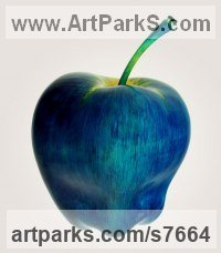 Wood,pigments,oil Fruit sculpture by Teodor Dukov titled: 'Apple in Dark Blue (Large Wood Carved Fruit sculptures)'