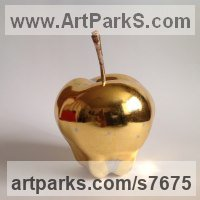 Wood,poliment ground,23 carat gold leave Floral, Fruit and Plantlife sculpture by Teodor Dukov titled: 'Golden Apple (Large Wood Carved Fruit sculptures)'