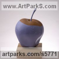 Wood,pigments,varnish Pop Art sculpture by Teodor Dukov titled: 'Violet Apple (Giant Carved Wood Apples statues)'