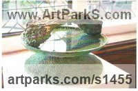 Cold cast Copper and Water Abstract Modern Contemporary Avant Garde Sculptures Statues statuettes figurines statuary both Indoor Or outside sculpture by Terry New titled: 'Pool 2 (Contemporary Modern abstract Wetar Feature Bird Bath statue)'