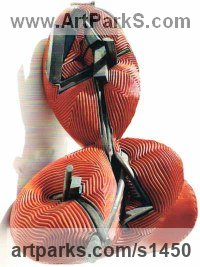Painted cold cast Iron Modern Abstract Contemporary Avant Garde Sculptures or Statues or statuettes or statuary sculpture by sculptor Terry New titled: 'Red Twist (Modern abstract resin garden/Yard sculptures)'