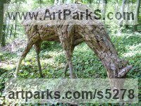 Wood Deer sculpture by Tessa Hayward titled: 'Red Deer (Doe Browsing/Feeding/Eating garden statue)'