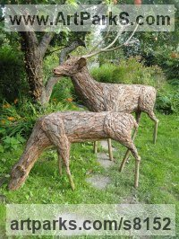 Bark Copper Wood Willow, Bark and moss sculpture / statue / statuette sculpture by Tessa Hayward titled: 'Stag and Doe (life size Deer Yard or garden statues)'