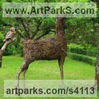 Wire, wood, bark and copper Objets Trouve or Found Objects Sculptures or Statues sculpture by Tessa Hayward titled: 'Standing Alert Deer (Upcycled life size Deer sculpture)'