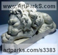 African Animal and Wildlife Sculpture by sculptor artist Thomas Brown titled: 'Baroque Lion after Canova (Carved stone statue)' in French limestone