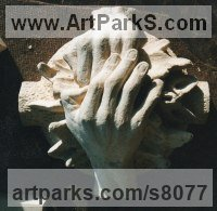 Bath Stone Architectural sculpture by Thomas J. Nicholls titled: 'Boss stone Carving commission (Custom Carved Hands statue)'