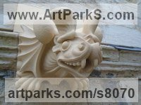 Highmoor Limestone Fun Amusing Comic Animals Birds Fish Statues sculpture by Thomas J. Nicholls titled: 'Gargoyle Commission stone (Bespoke Custom Grotesque carving)'