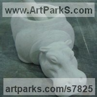 Cararra Marble African Animal and Wildlife sculpture by sculptor Thomas J. Nicholls titled: 'marble Hippopotamus (Pestle and Mortar Hippo Small Little Indoor statue)'