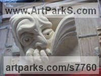 Bath Stone Grotesque Sculptures / Statues / figurines to order Commission Custom Bespoke sculpture by Thomas J. Nicholls titled: 'Peeping Giant (Grotesque sculpture statue Wall panel stone Carving)'