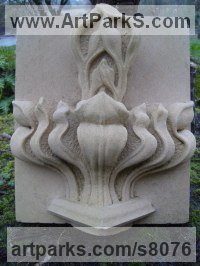 Portland Stone Architectural sculpture by sculptor Thomas J. Nicholls titled: 'Stiff Leaf stone Carving (Carved StylisedHigh Relief Commission statue)'