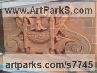 Carved Brick Public Art sculpture by sculptor Thomas J. Nicholls titled: 'Victorian Style Decorative Panel (Carved Brick Wall Scrolls and follia)'