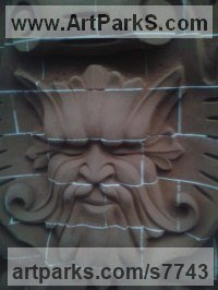 Bricks Architectural sculpture by sculptor Thomas J. Nicholls titled: 'Victorian style decorative panel (Carved Brick Wall arving statue)'