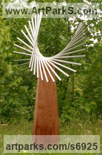 Stainless steel & oak Sculpture or Statues made from Metal Rods or Bars sculpture by Thomas Joynes titled: 'Spin (Swirling Repetitive Minimalist garden Yard statue sculpture)'