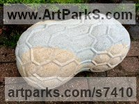 Limestone Fruit sculpture by Thomas Kenrick titled: 'Pod (abstract Peanut Shaped Contemporary garden Yard statue sculpture)'