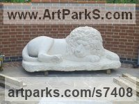 Bath stone Public Park or Urban Landscape or Corporate sculpture / Fountain / Sratuary sculpture by Thomas Kenrick titled: 'Sleeping Lion (White Carved stone Recumbent garden Yard statue statuary)'