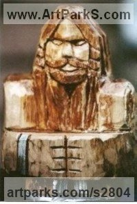 Birch Primitive Naive sculpture statue carving casting sculpture by Thormod Morrisson titled: 'THOR'
