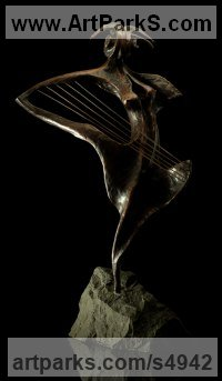 Bronze with Stone base Abstract Modern Contemporary Avant Garde sculpture statuettes figurines statuary both Indoor Or outside sculpture by sculptor Tibor Szilagyi jr. titled: 'No4 Modern (Contemporary Musical Harp nude Girl abstract bronze statue)'