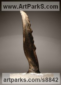 Oak, polished silver Carved Wood sculpture by Tihomir Velichkov titled: 'Between Earth and Sky'