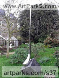 Stainless Steel Modern Abstract Contemporary Avant Garde Sculptures or Statues or statuettes or statuary sculpture by Tim Fortune titled: 'Drop (Large stainless Steel Syrop Drop Yard garden statue)'