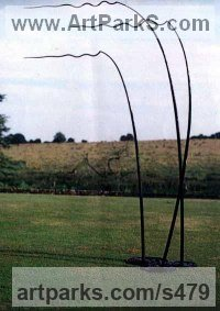 Mild Steel Cloud, Breeze, Wave and Wind sculpture by Tim Fortune titled: 'Wind over Lake (abstract Ripples in Bronze garden sculpture or statue)'