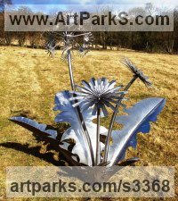 Stainless steel Varietal cross section of Floral, Fruit and Plantlife sculpture by Tim Roper titled: 'Dandelion (stainless Steel Large Big garden Plant sculptures/statue)'