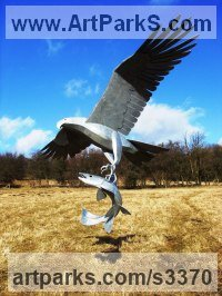 Steel Birds of Prey / Raptors sculpture by Tim Roper titled: 'Sea Eagle and Salmon (Metal Flying with its Fish Prey statue sculpture)'