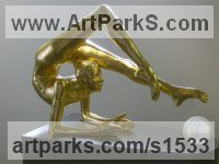 23.5k Gold -fiberglass Painted Coloured Tinted Patinated Enamelled Sculptures Statues statuettes sculpture by Timothy Blackwood titled: 'Rhythmic Gymnast (Gold Leaf Contortionist statues)'